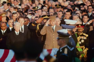 National Leaders Saluting Kennedy at Arlington Cemetery