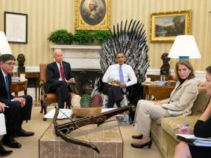 Obama on a Game Of Thrones chair
